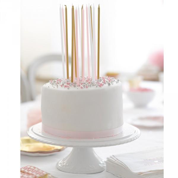 16 extra lange Kerzen in pink/weiß/gold