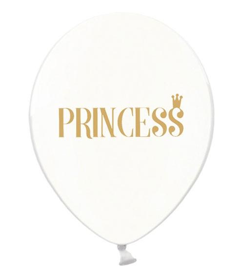 """Luftballons """"Princess"""" - kristall/gold - 6 Stück"""