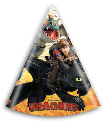 Dragons Partyhüte 6er Pack - Partyzubehör für Kindergeburtstag