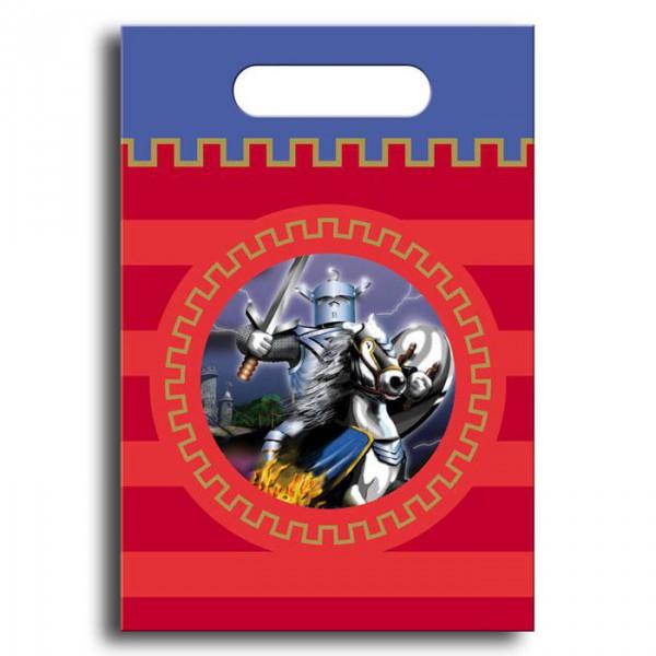 Geschenk-Tütchen -Silberner Ritter- 8er Pack ✔ 17,5 x 25 cm ✔ Farbe: rot, blau, silber