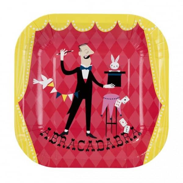 12 Pappteller für Zauber und Zirkuspartys