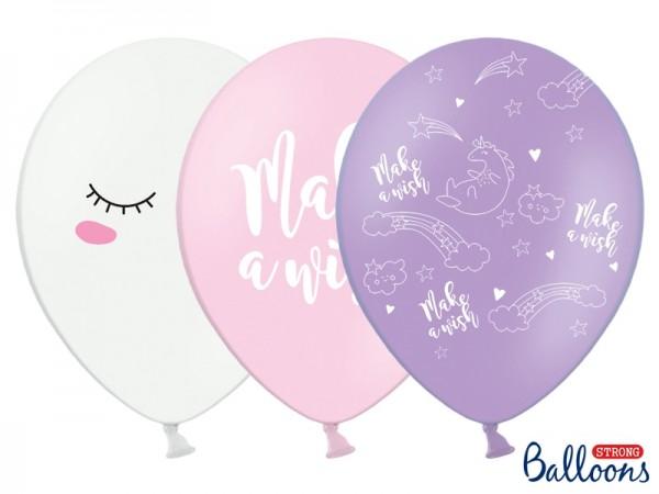 "Luftballon-Set ""Einhorn"" - weiß/rosa/lavendel - 6 Stück - Party Ballons"