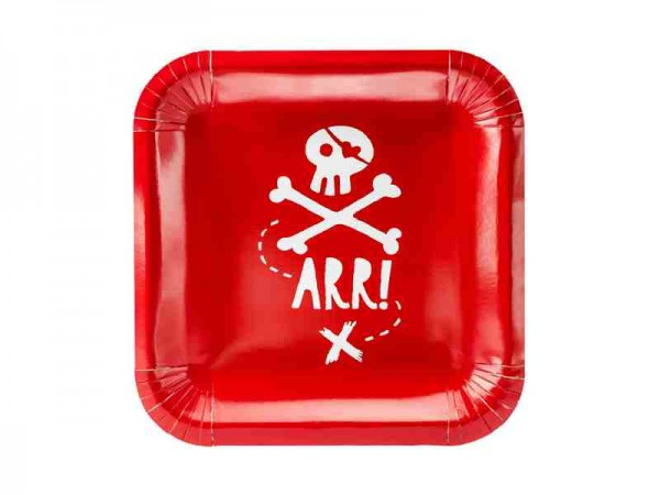 "Eckige Pappteller ""Pirates Party"" - 6 Stück - Piratenteller"