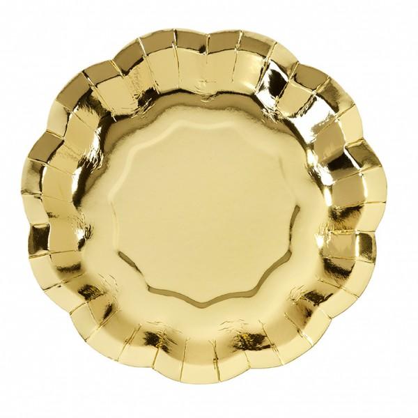 Pappteller Rosa - Gold, 12-teilig