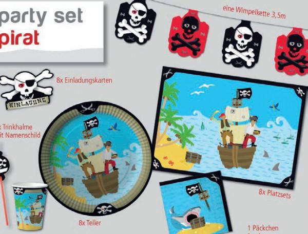 Partyset Pirat für 8 Kinder 61 Teile - Piratenparty Tischdekoration