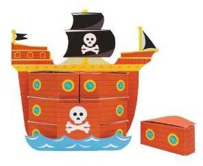 Piratenschiff mit Mitgebsel Boxen für Kindergeburtstag
