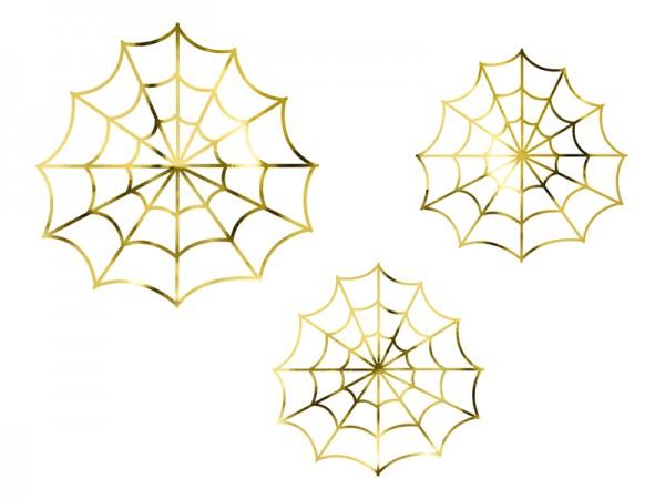 """Deko Spinnennetz Gold """"Halloween-Party"""""""