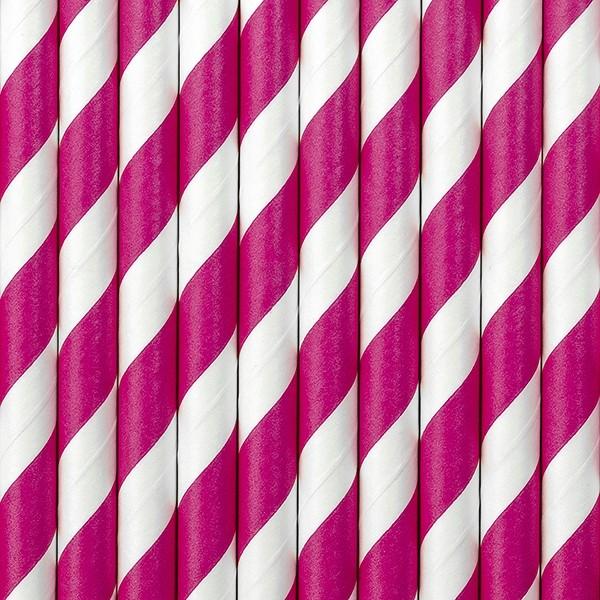 Papierstrohhalme gestreift - pink - 10 Stück - Trinkhalme