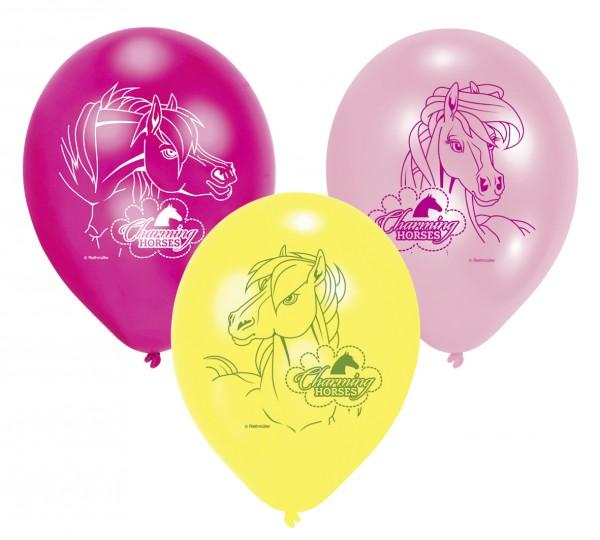 6 Luftballons mit Pferde Motiv