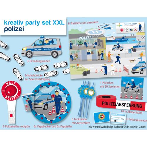 Partyset Polizei XXL für 6 Kinder 89 Teile - Kindergeburtstag Polizeigeburtstag