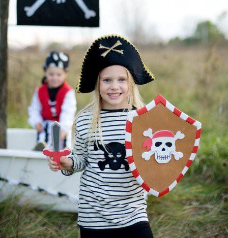 Piratenshirt für Kinder mit schwarzem Totenkopf