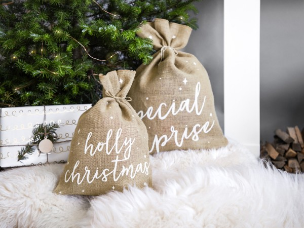 "Beispieldekoration | Jutesack ""Holly Christmas"" - 30 x 42 cm"