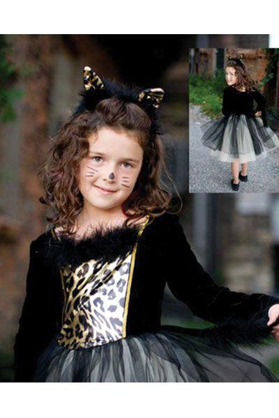Katzenkostüm für Kinder mit Haarreif - Pannesamt, Pailetten und Tüll. Der Haarreif mit Öhrchen und Federn