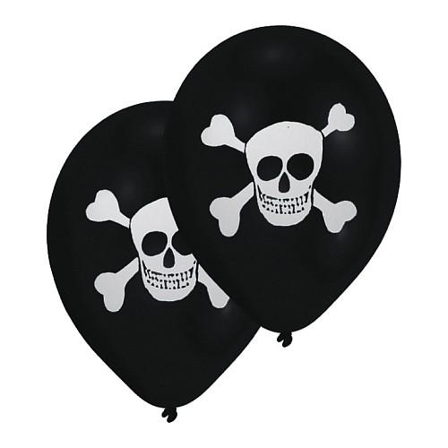 Luftballons Piraten Totenkopf mit Knochen im 8er Pack