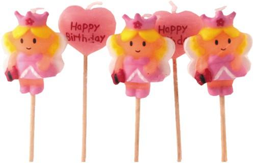 Minikerzen für Prinzessinnenparty-Kindergeburtstag | Dekoration von Muffins, Kuchen, Cupcakes | Partyartikel für Prinzessin
