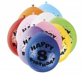 Bunte Luftballons für 8.Geburtstag - Zahlenluftballons