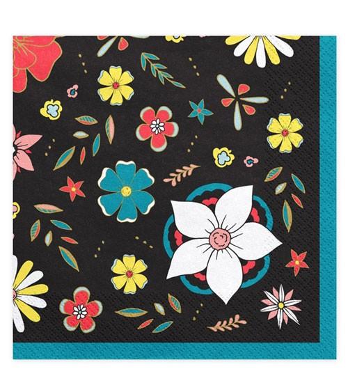 Servietten mit bunten Blüten - schwarz - 20 Stück - Halloween