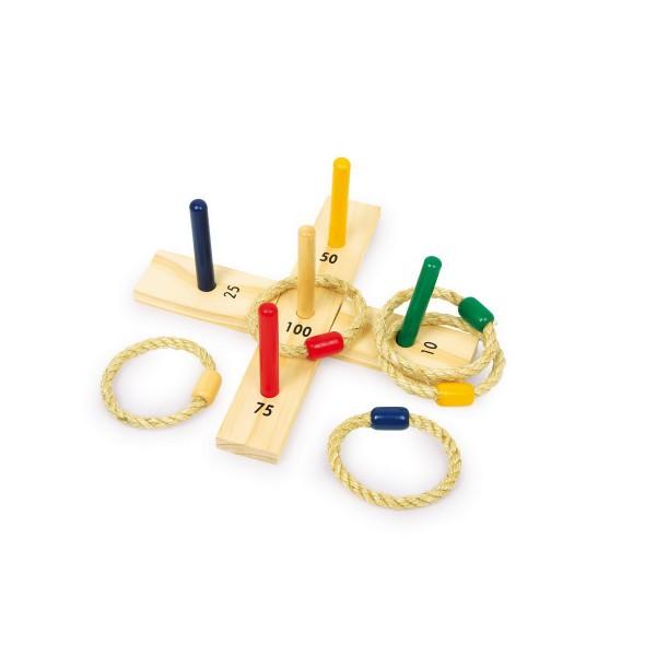 Kleines Wurfspiel aus Holz, mit 5 Ringen, mehrfarbig (1 Set)