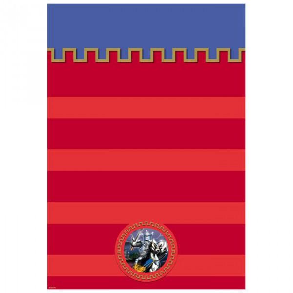 Tischdecke -Silberner Ritter- 130 x 180 cm aus Kunstoff in rot, blau mit Rittermotiv