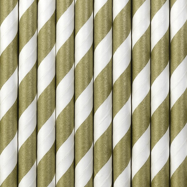 Papierstrohhalme gestreift - gold - 10 Stück - Trinkhalme