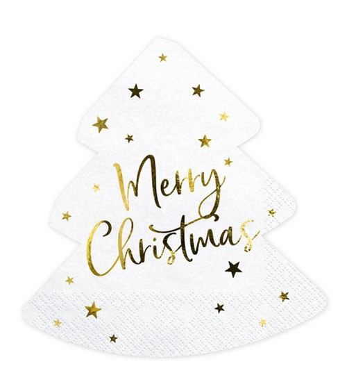 "Weihnachtsbaum-Servietten ""Merry Christmas"" - 20 Stück"