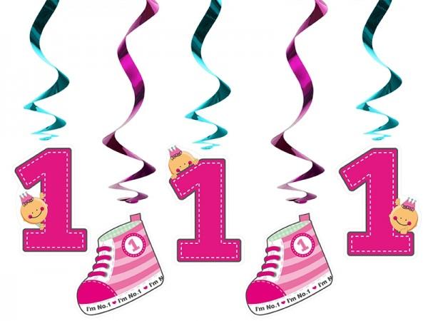 """Spiralgirlanden """"I'm No. 1"""" - pink - 5 Stück - 1.Kindergeburtstag"""