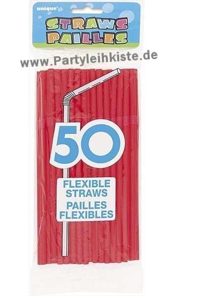 50 rote Trinkhalme - Strohhalme - Trinkröhrchen