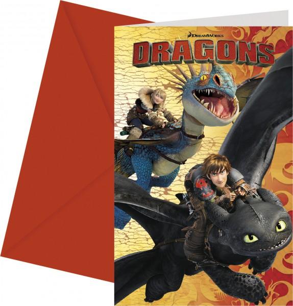 Einladungskarten Set Dragons für 6 Kinder