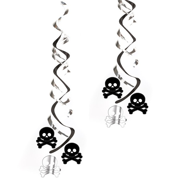 Wirbel-Deckenhänger Piraten Totenkopf 2er Pack günstig kaufen ➤ Piratenparty Deko Shop ✔