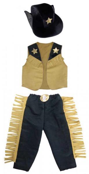 Cowboy Kinderkostüm mit Weste, Hose und Hut