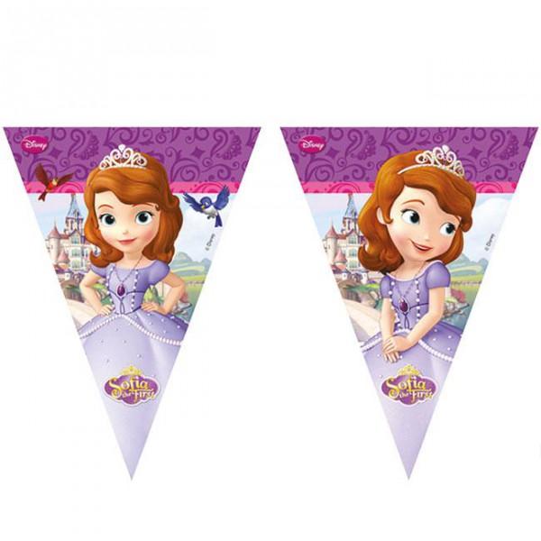 """Wimpel-Girlande """"Sofia die Erste"""" 230 cm mit Prinzessin Sofia vor Ihrem Schloss ✔"""