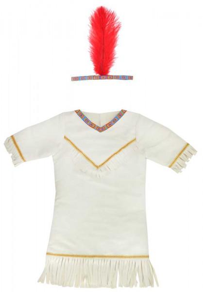 Indianerin Kostüm Set - Kleid und Stirnband mit Feder