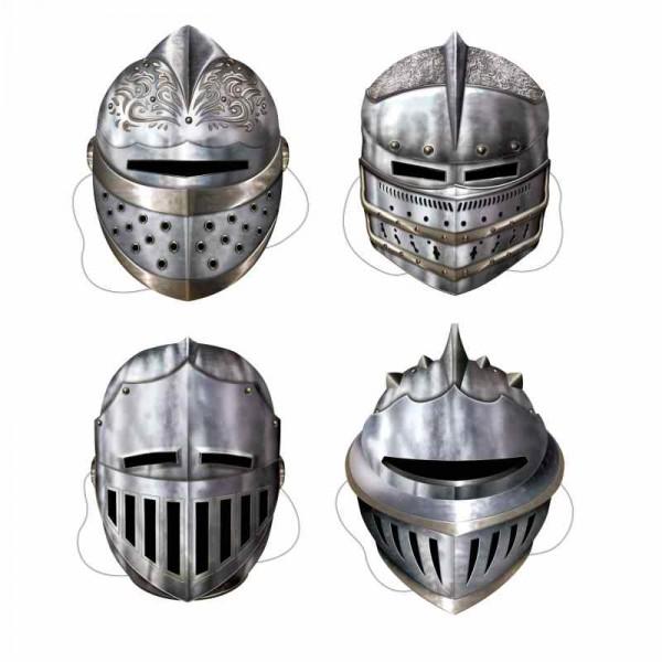 4 Ritter Masken im Set aus Karton als Mitgebsel für Kinderparty