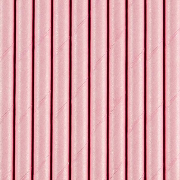 Papierstrohhalme - rosa - 10 Stück - Trinkhalme
