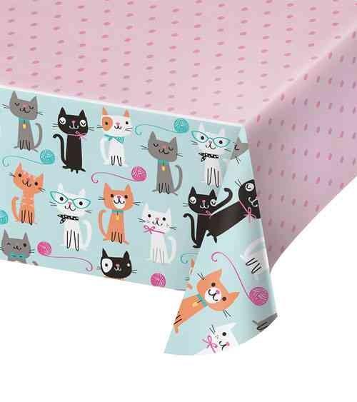 """Tischdecke """"Kätzchen Party"""" 137 x 259 cm - Katzen Schnurrparty"""