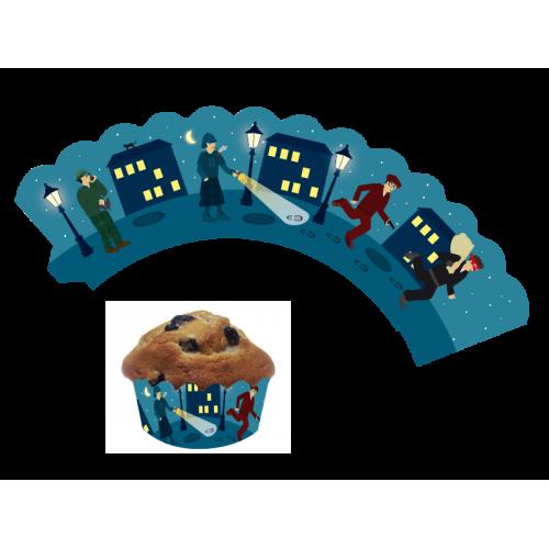 Deko-Banderolen für Muffins und Cupcakes Detektiv 12 Stück