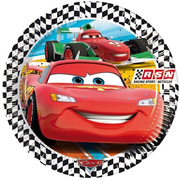 Cars - Partyteller Racing Sports Network- im 8er Pack, 23cm ✔ mit Lightning McQueen ✔